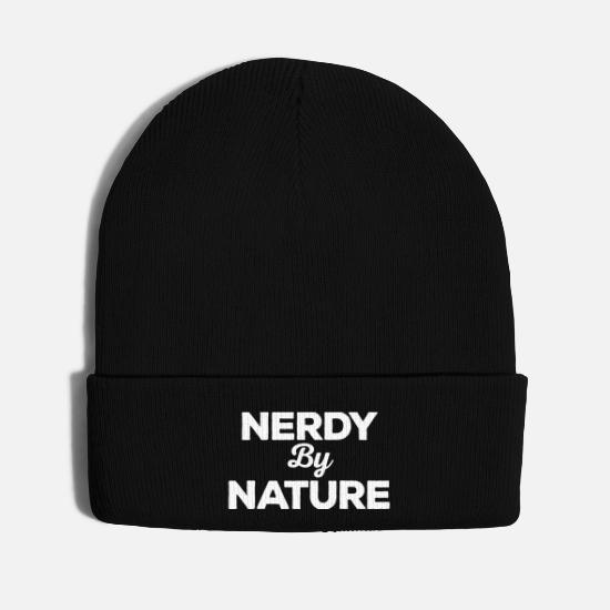 Quote Caps - Nerdy By Nature Funny Quote - Knit Cap black