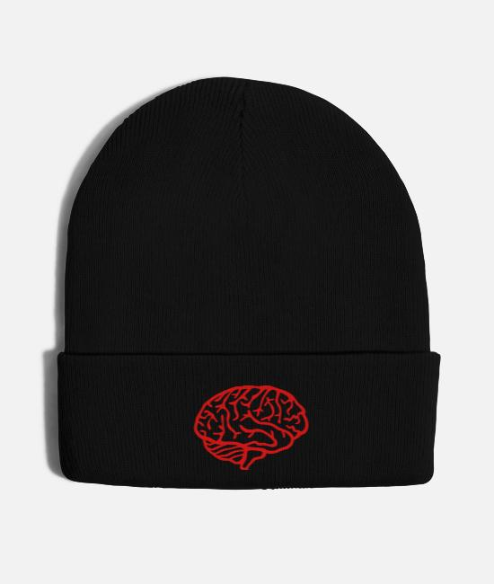 School Caps & Hats - Brain for smart people - Knit Cap black