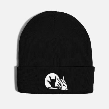 Playing Funny rabbit shadow hand cartoon ROCK music METAL - Knit Cap