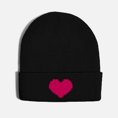 Pixel Pixelated Heart - Knit Cap