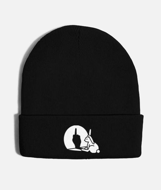 Easter Caps & Hats - Funny rabbit shadow hand middle finger fuck you - Knit Cap black
