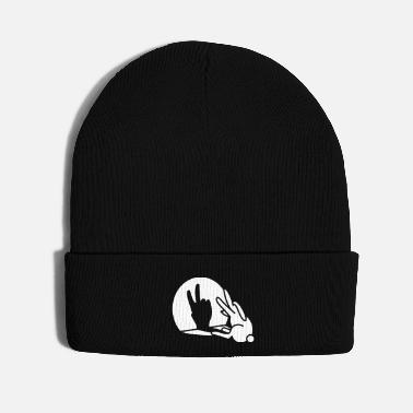 Old Funny rabbit hare shadow hand victory peace V sign - Knit Cap