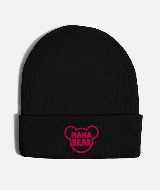 Garden Caps & Hats - MAMA BEAR in a teddy shape super cute! - Knit Cap black