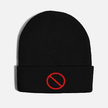 Hilarious No Ban Sign Vector Prohibition Sign - Knit Cap
