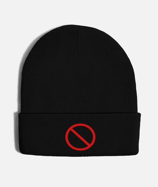 Funny Hilarious Comic Ban Prohibition Signs For Caps & Hats - No Ban Sign Vector Prohibition Sign - Knit Cap black