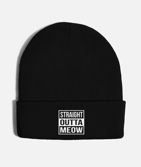 Hipster Caps & Hats - Straight Outta Meow - Knit Cap black