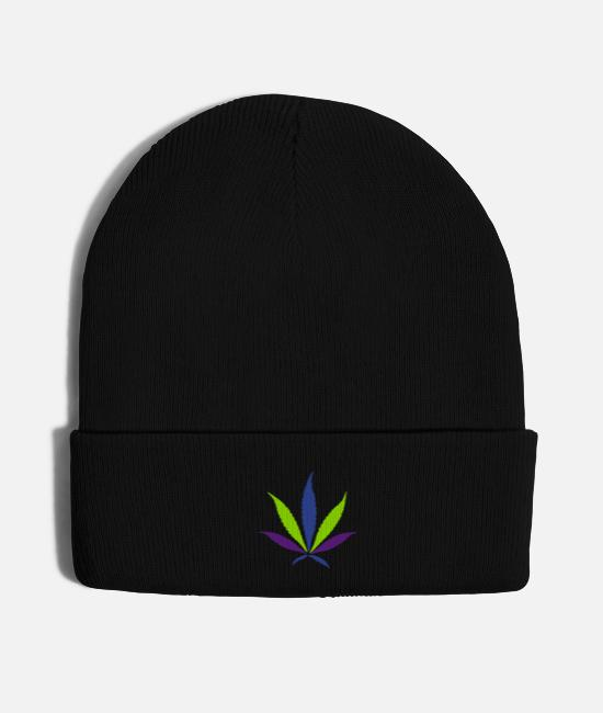 Hipster Caps & Hats - TRI-COLOR Cannabis Leaf (HQ) - Knit Cap black