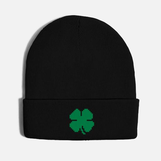 Clover Caps - 8 Bit Luck Pixel Four Leaf Clover - Knit Cap black