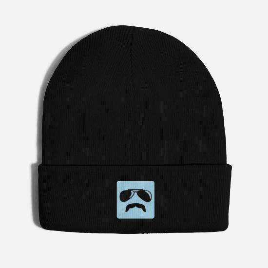 Sunglasses Caps - Sunglasses moustache - Knit Cap black