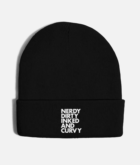 Curvy Caps & Hats - NERDY DIRTY INKED AND CURVY - Knit Cap black