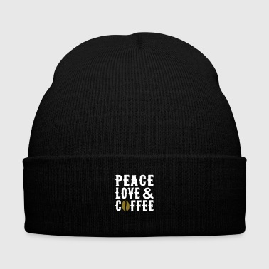 Peace Love Coffee - Knit Cap with Cuff Print