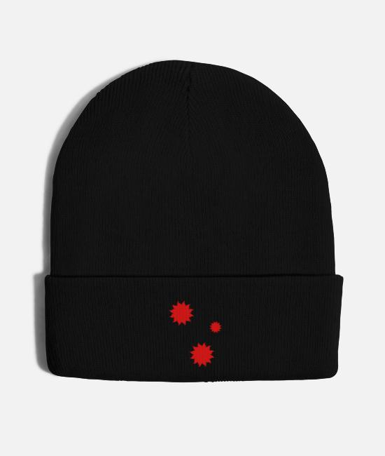 Heat Caps & Hats - Decoration of red suns - Knit Cap black