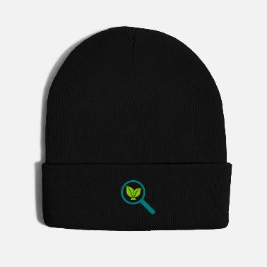 Plant Grounds magnifying glass leaf eco-activist ecology - Knit Cap
