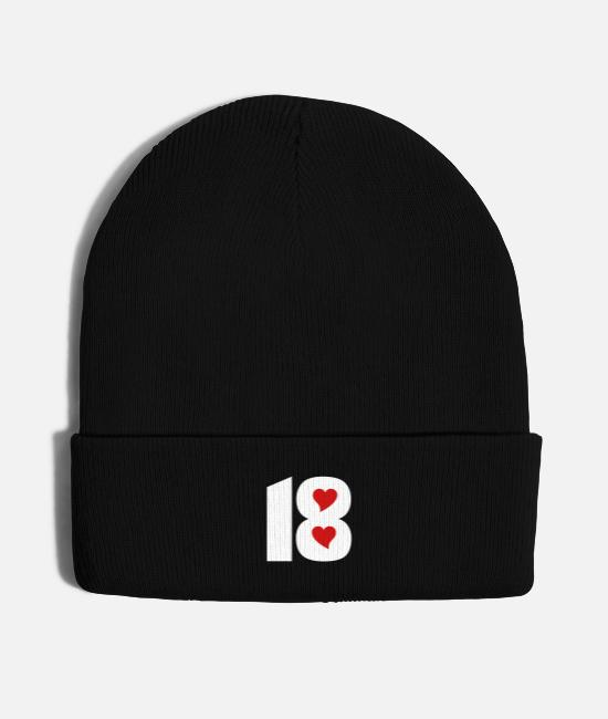 Cool-best-sport-uniform-number-18 Caps - ❤️★Number Eighteen 18-Best Jersy Number & Best Age - Knit Cap black
