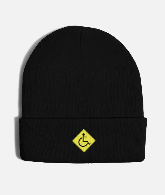 Give Caps & Hats - Wheelchair Caution Sign Black Free Clipart Icon - Knit Cap black