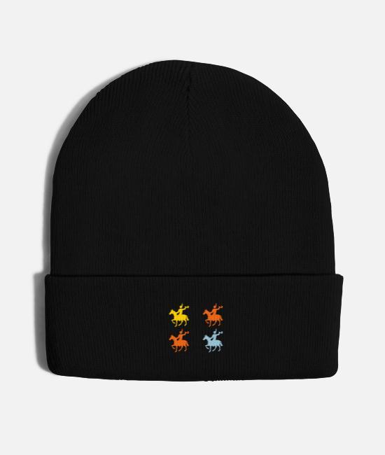 Native Caps & Hats - Native Indian Horsemen - Knit Cap black