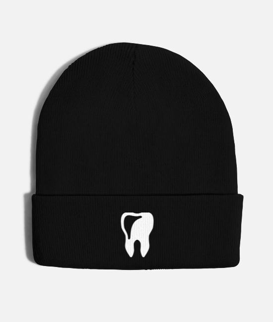 White Caps & Hats - tooth - dentist - Knit Cap black