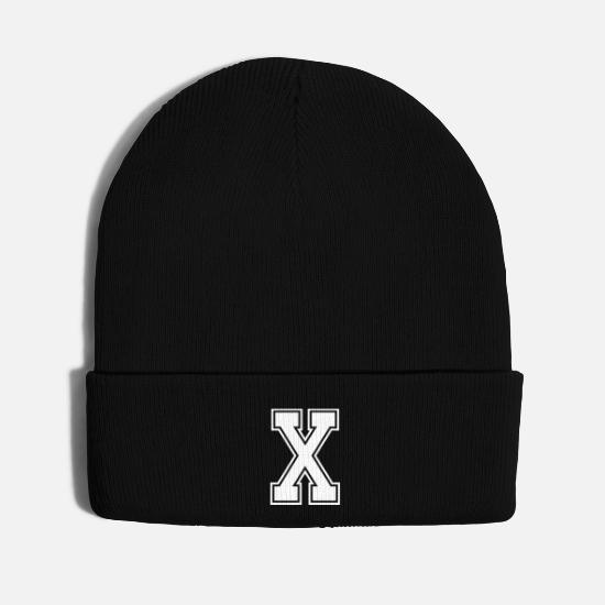 Birthday Caps - Letter X Alphabet College Style - Knit Cap black