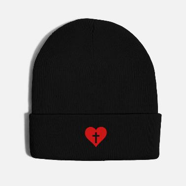 Healing heart with cross cutout - Knit Cap