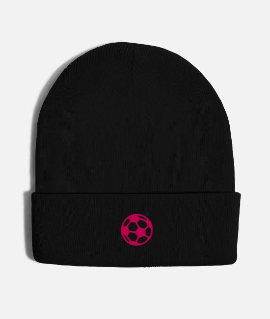 Ball Caps & Hats - Pink Soccer Ball - Knit Cap black
