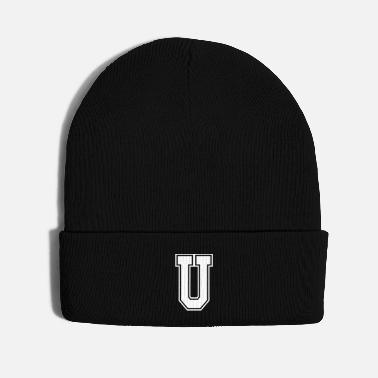 First Name Letter U Alphabet College Style - Knit Cap