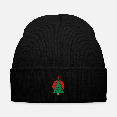 Snowman christmas tree with circle - Knit Cap with Cuff Print