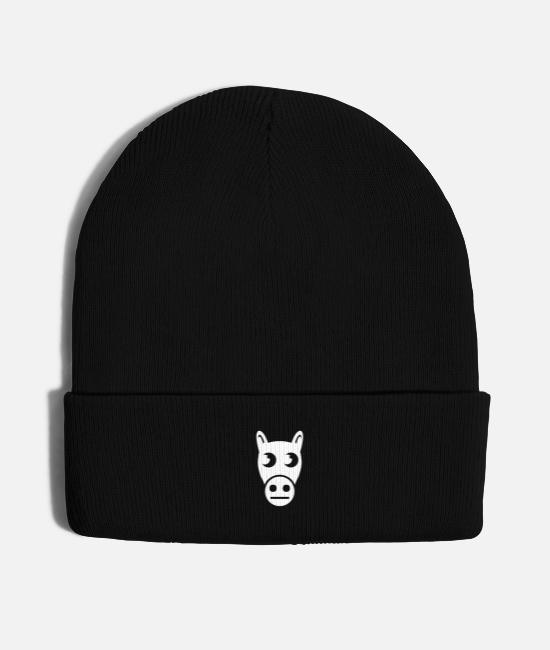 Drawing Caps & Hats - Indifferent Horse Drawing - Knit Cap black