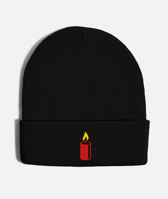 Church Caps & Hats - A burning candle - Knit Cap black