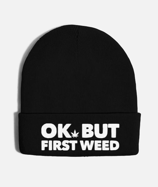First Grade Caps & Hats - Ok but first weed 5 - Knit Cap black