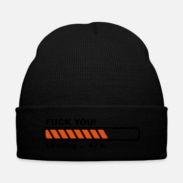 Moron Fuck you loading - Knit Cap with Cuff Print