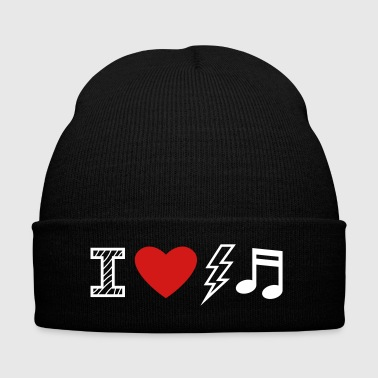 I Love Electro Music - Knit Cap with Cuff Print