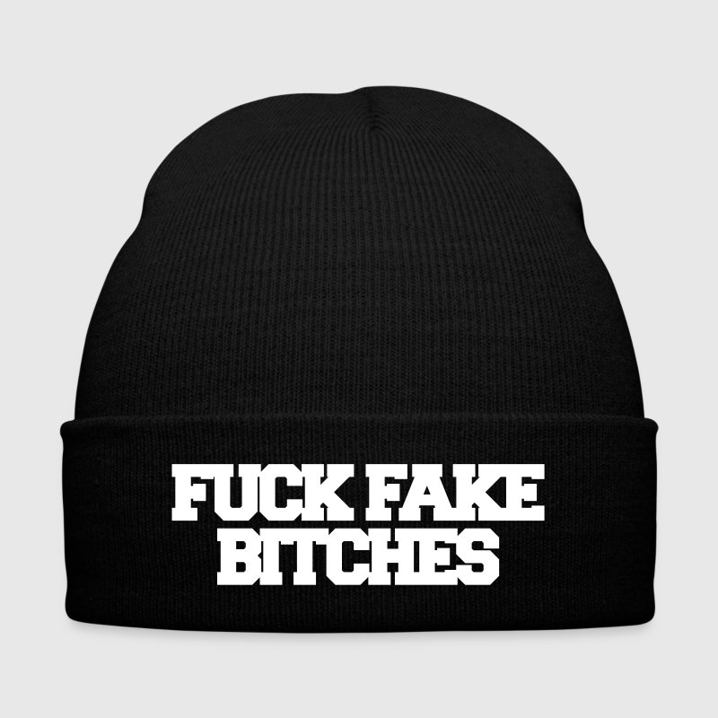 Fuck fake bitches - Knit Cap with Cuff Print