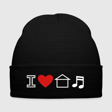 I Love House Music - Knit Cap with Cuff Print