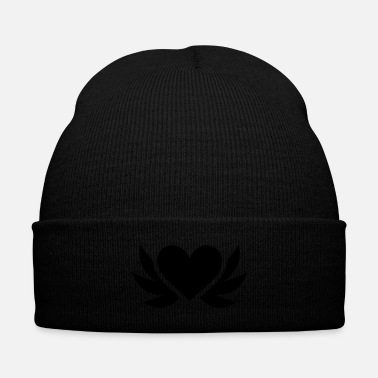 Groom Heart with wings - Knit Cap with Cuff Print