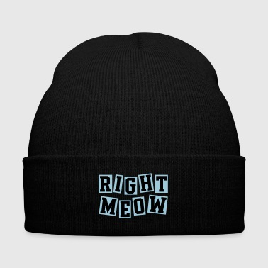 Right Meow - Knit Cap with Cuff Print