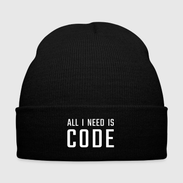 All I need is CODE - Knit Cap with Cuff Print