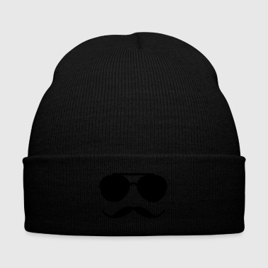 Sunglasses and Mustache - Knit Cap with Cuff Print