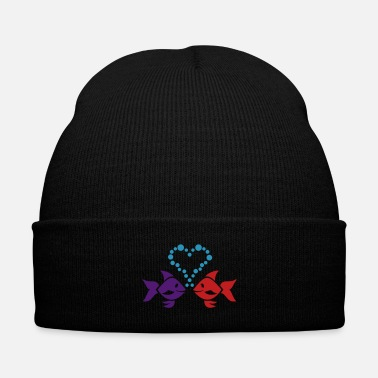 Groom Fish in love - Knit Cap with Cuff Print