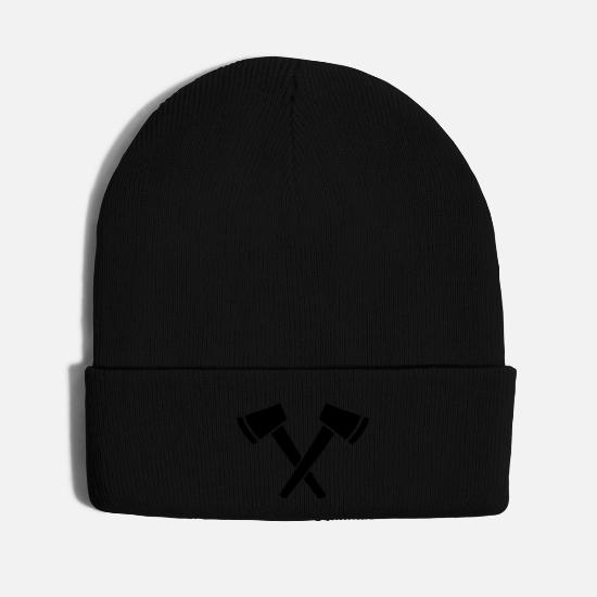 Fire Fighter Caps - Crossed Ax - hatchet - Knit Cap black
