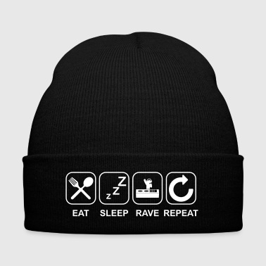 Eat Sleep Rave Repeat - Knit Cap with Cuff Print