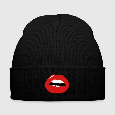 Kiss my Hot Lips - Knit Cap with Cuff Print