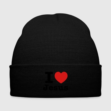 I heart Jesus - Knit Cap with Cuff Print