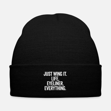 Wing Just Wing It Funny Quote - Knit Cap with Cuff Print