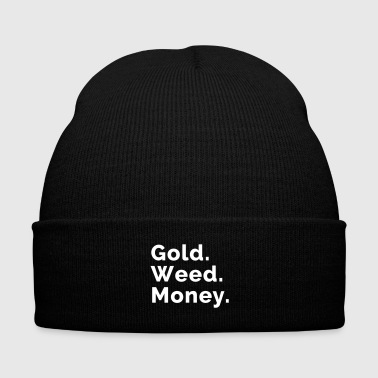 Gold. Weed. Money. - Knit Cap with Cuff Print