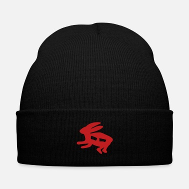 Hare petroglyph hare - Knit Cap with Cuff Print