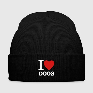 I Heart Dogs - Knit Cap with Cuff Print