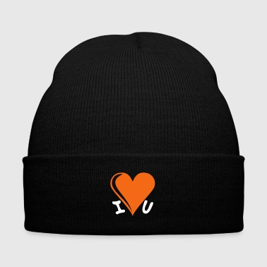 I love you - heart - Knit Cap with Cuff Print