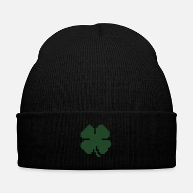 Luck 8 Bit Luck Pixel Four Leaf Clover - Knit Cap with Cuff Print