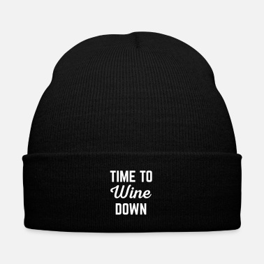 Down Wine Down Funny Quote - Knit Cap with Cuff Print