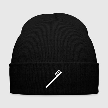 tooth brush - white - Knit Cap with Cuff Print